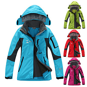 cheap Camping, Hiking & Backpacking-Women's Hiking Jacket Hiking 3-in-1 Jackets Ski Jacket Winter Outdoor Thermal Warm Windproof Quick Dry Breathable 3-in-1 Jacket Top Polar Fleece Full Zip Skiing Camping / Hiking Hunting Red Fuchsia