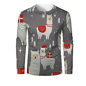 cheap Athleisure Wear-Men's T shirt 3D Print Graphic 3D Animal Print Long Sleeve Christmas Tops Gray