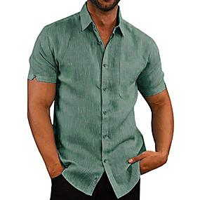 cheap Men's basics-Men's Daily Shirt Solid Colored Short Sleeve Tops Basic White Black Khaki