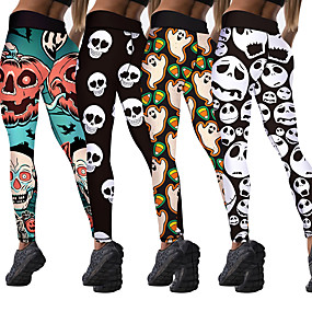 cheap Running & Jogging-Women's Running Tights Leggings Compression Pants Street Base Layer Bottoms Winter Fitness Gym Workout Running Training Exercise Thermal Warm Breathable Soft Sport Halloween White Black Green Cyan