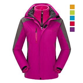 cheap Camping, Hiking & Backpacking-Women's Hoodie Jacket Hiking Jacket Hiking 3-in-1 Jackets Winter Outdoor Thermal Warm Waterproof Windproof Breathable Jacket 3-in-1 Jacket Winter Jacket Skiing Camping / Hiking Hunting Purple Yellow