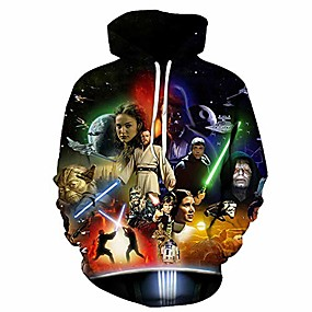 cheap Men's Tops-mens' 3d star wars printed pullover fashion film hoodies long sleeve sweatshirts with pockets