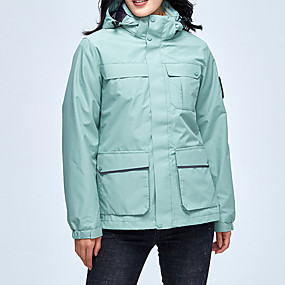 cheap Camping, Hiking & Backpacking-Women's Hiking Jacket Hiking 3-in-1 Jackets Autumn / Fall Spring Outdoor Solid Color Waterproof Windproof Fleece Lining Warm Jacket Hunting Fishing Climbing White Black Yellow / Camo / Breathable