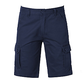 """cheap Camping, Hiking & Backpacking-Men's Hiking Shorts Hiking Cargo Shorts Military Solid Color Summer Outdoor 10"""" Ripstop Ventilation Multi-Pockets Breathable Cotton Knee Length Shorts Bottoms Army Green Black Khaki Dark Navy Work"""