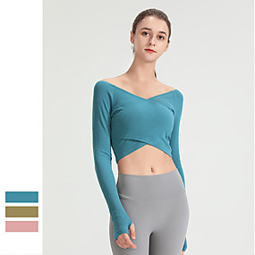 cheap Yoga & Fitness-Women's Yoga Top Winter Thumbhole Solid Color Blue Pink Green Spandex Cotton Yoga Fitness Gym Workout Tee Tshirt Long Sleeve Sport Activewear Breathable Quick Dry Comfortable Stretchy