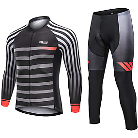 cheap Cycling & Motorcycling-21Grams Men's Long Sleeve Cycling Jersey with Tights Winter Fleece Polyester Black Stripes Bike Clothing Suit Fleece Lining 3D Pad Warm Quick Dry Breathable Sports Stripes Mountain Bike MTB Road Bike