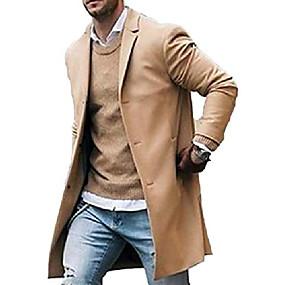 billige Herreovertøj-mænds trenchcoat uld slim fit hakket krave overfrakke enkelt breasted lang ærtejakke (m, khaki)