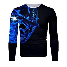 cheap Athleisure Wear-Men's T shirt 3D Print Graphic 3D Skull Print Long Sleeve Halloween Tops Basic Royal Blue