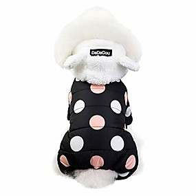 cheap Pet Costumes-polka dot pets down jacket for dogs cats, quilted padded pets jacket with ear hooded winter cute dogs cat pets clothes for puppy kitten (2xl, black)