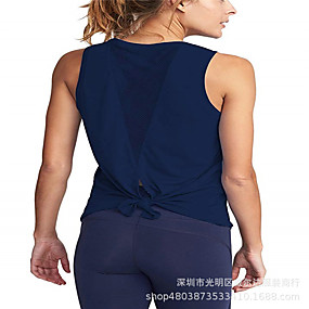 cheap Yoga & Fitness-Women's Patchwork Yoga Top Solid Color Cotton Mesh Yoga Running Fitness Tank Top Top Sleeveless Activewear Breathable Comfortable Micro-elastic