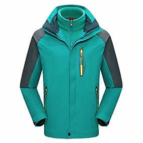cheap Camping, Hiking & Backpacking-Men's Hiking Jacket Autumn / Fall Winter Spring Outdoor Solid Color Waterproof Windproof Fleece Lining Warm Jacket Single Slider Hunting Fishing Climbing Black Yellow Red / Breathable
