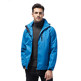 cheap Camping, Hiking & Backpacking-Men's Hiking Jacket Autumn / Fall Winter Spring Outdoor Solid Color Waterproof Windproof Warm Breathable Jacket Full Length Hidden Zipper Hunting Ski / Snowboard Fishing Black Army Green Blue