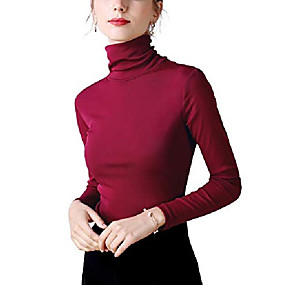 cheap Athleisure Wear-women's soft cotton long sleeve t-shirt/turtle neck top(wine red/l)