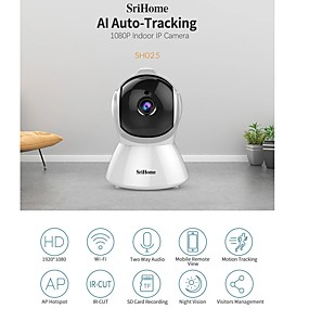 cheap Indoor IP Network Cameras-Sricam SH025 AI Body Auto-tracking IP Camera Mini 1080P Wifi CCTV Camera 2.0MP H.265 Smart Home Indoor Remote View Baby Monitor