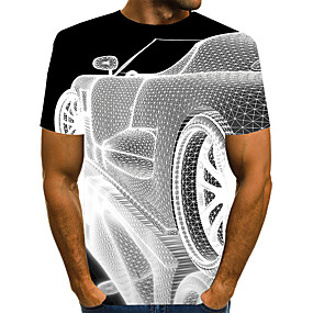 cheap Athleisure Wear-Men's T shirt Shirt 3D Print Graphic 3D Plus Size Print Short Sleeve Daily Tops Elegant Exaggerated Round Neck White Blue Purple