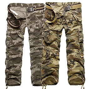 cheap Camping, Hiking & Backpacking-Men's Work Pants Hiking Cargo Pants Hiking Pants Trousers Camo Summer Outdoor Ripstop Ventilation Multi-Pockets Breathable Cotton Pants / Trousers Yellow Camouflage Work Hunting Fishing 28 29 30 31 32