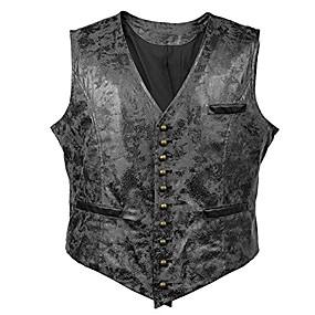 billige Herreovertøj-victorian vagabond steampunk gotisk retro vind læder cowboyjakke herrevest (m, sort)