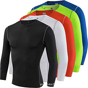 cheap Yoga & Fitness-Men's Long Sleeve Compression Shirt Running Shirt Tee Tshirt Top Athletic Athleisure Winter Elastane Thermal Warm Moisture Wicking Quick Dry Fitness Gym Workout Running Jogging Training Sportswear