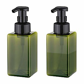 cheap Travel-foaming soap dispenser, 450ml (15oz) refillable pump bottle for liquid soap, shampoo, body wash (2 pcs) (green)