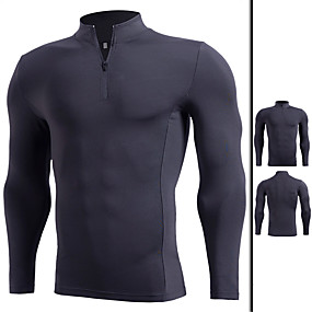 cheap Yoga & Fitness-Men's Long Sleeve High Neck Compression Shirt Running Shirt Quarter Zip Tee Tshirt Base Layer Top Athletic Winter Elastane Thermal Warm Quick Dry Breathable Fitness Gym Workout Running Jogging