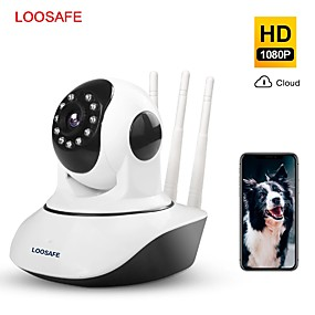 cheap Indoor IP Network Cameras-LOOSAFE 2MP Cloud HD WIFI IP Camera Night Vision Home Security camera Wireless P2P IP Camara PTZ Wifi Indoor IR cam Audio ONVIF