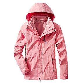 cheap Camping, Hiking & Backpacking-Women's Hiking Jacket Autumn / Fall Winter Spring Outdoor Solid Color Waterproof Windproof Fleece Lining Warm Jacket Single Slider Hunting Ski / Snowboard Fishing Black Pink Rose Red / Breathable