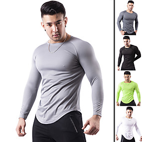 cheap Running & Jogging-Men's Long Sleeve Compression Shirt Running Shirt Tee Tshirt Base Layer Top Athletic Elastane Thermal Warm Breathable Quick Dry Fitness Gym Workout Running Jogging Training Sportswear Solid Colored