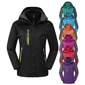 cheap Camping, Hiking & Backpacking-Women's Hoodie Jacket Hiking Jacket Hiking 3-in-1 Jackets Winter Outdoor Thermal Warm Waterproof Windproof Fleece Lining 3-in-1 Jacket Winter Jacket Top Full Length Visible Zipper Skiing Camping
