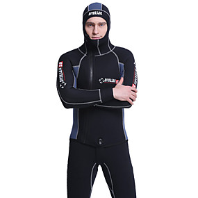 cheap Surfing, Swimming & Diving-Dive&Sail Men's Full Wetsuit 5mm SCR Neoprene Diving Suit Thermal Warm Quick Dry Stretchy Long Sleeve 2 Piece Hooded - Swimming Diving Surfing Scuba Patchwork Autumn / Fall Spring Summer