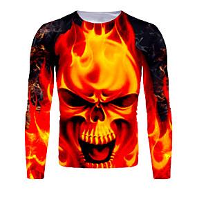 cheap Athleisure Wear-Men's T shirt 3D Print Graphic 3D Flame Print Long Sleeve Halloween Tops Basic Orange