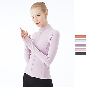 cheap Yoga & Fitness-Women's Yoga Top Winter Thumbhole Zipper Solid Color Black Blue Pink Nylon Spandex Yoga Fitness Gym Workout Jacket Long Sleeve Sport Activewear Breathable Quick Dry Comfortable Stretchy