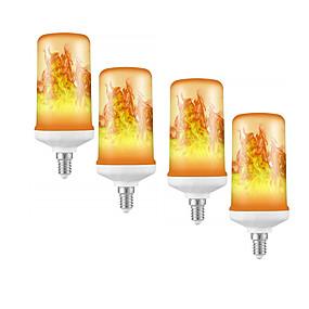 cheap LED Corn Lights-4pcs 1pcs  Dynamic Flame Effect LED Corn Light Bulb Lamp 85-265V E27 E14 Simulation Fire Burning Flicker With Gravity sensor Decoration lamps