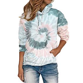 cheap Athleisure Wear-Women's Plus Size Hoodie Pullover Tie Dye Front Pocket Daily Weekend Basic Cute Hoodies Sweatshirts  Loose Blue Purple Wine