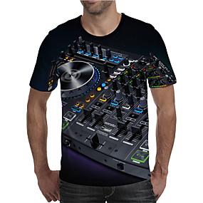cheap Athleisure Wear-Men's T shirt Shirt 3D Print Graphic Machine Plus Size Print Short Sleeve Daily Tops Elegant Exaggerated Round Neck Black