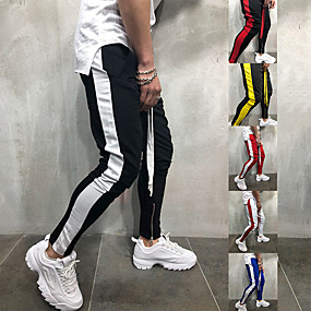 cheap Running & Jogging-JACK CORDEE Men's Sweatpants Joggers Track Pants Sports & Outdoor Athleisure Wear Bottoms Side-Stripe Drawstring Ankle Zip Running Active Training Jogging Training Moisture Wicking Breathable Soft