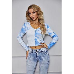 ราคาถูก Women's Tops-สำหรับผู้หญิง เสื้อสตรี เชิร์ต Crop Top มัดย้อม แขนยาว คอวี ท็อปส์ พื้นฐาน พื้นฐานด้านบน สีน้ำเงิน
