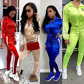 cheap Running & Jogging-Women's 2 Piece Full Zip Tracksuit Sweatsuit Jogging Suit Street Casual Winter Long Sleeve Quick Dry Breathable Soft Fitness Running Jogging Sportswear Stripes Jacket Red Blue Green Beige Activewear