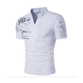 cheap Men's basics-Men's Daily T-shirt Graphic Solid Colored Print Short Sleeve Slim Tops Cotton Active Boho Stand Collar White Black Red / Sports / Summer