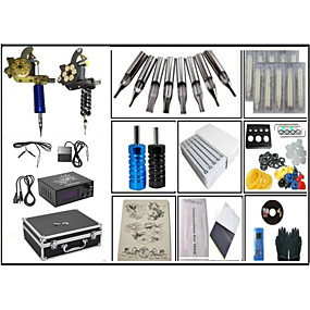 cheap Professional Tattoo Kits-Fine steel casting Large coil 10 layers of copper wire 2 Machines  liner & shader Tattoo Kit w/ Power Supply 50 tattoo needles 100 Ink cup