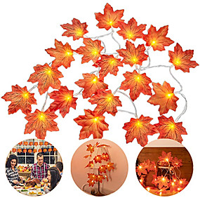 cheap LED String Lights-6pcs 4pcs LED Maple Leaves String Lights 3m 20 LED Maples Fairy Garland String Light for Outdoor Home Thanksgiving Autumn Party Holiday Decoration
