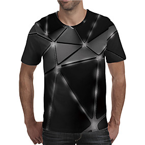 cheap Athleisure Wear-Men's T shirt 3D Print Graphic 3D Plus Size Print Short Sleeve Daily Tops Elegant Exaggerated Black