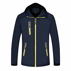 cheap Camping, Hiking & Backpacking-Men's Hiking Jacket Autumn / Fall Winter Spring Outdoor Solid Color Waterproof Windproof Fleece Lining Warm Jacket Single Slider Hunting Ski / Snowboard Fishing Yellow Blue Orange / Breathable
