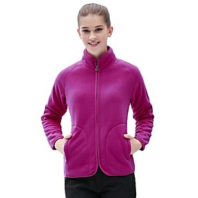cheap Camping, Hiking & Backpacking-Women's Hiking Jacket Hiking Fleece Jacket Autumn / Fall Winter Outdoor Solid Color Windproof Fleece Lining Warm Ventilation Top Hunting Fishing Climbing Purple Fuchsia Blue / Breathable