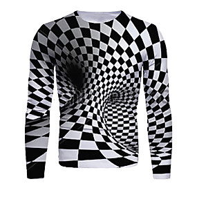 cheap Athleisure Wear-Men's T shirt 3D Print Graphic Abstract 3D Print Long Sleeve Daily Tops Black / White