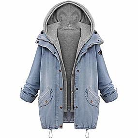 cheap Camping, Hiking & Backpacking-hot! denim hooded coat,winter womens warm jacket plus size outwear gilet cardigan 2pcs set (l, blue)