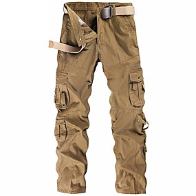 cheap Camping, Hiking & Backpacking-Men's Work Pants Hiking Cargo Pants Hiking Pants Trousers Military Solid Color Summer Outdoor Ripstop Ventilation Multi-Pockets Breathable Cotton Pants / Trousers Black Grey Khaki Green Work Hunting
