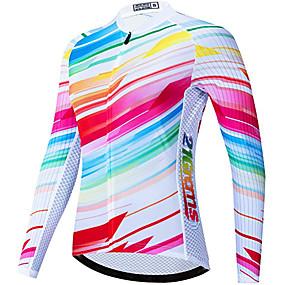 cheap Cycling & Motorcycling-21Grams Women's Long Sleeve Cycling Jersey Winter Fleece Polyester White Rainbow Novelty Bike Jersey Top Mountain Bike MTB Road Bike Cycling Thermal Warm UV Resistant Fleece Lining Sports Clothing