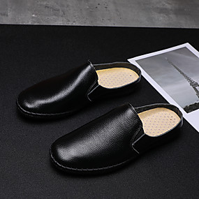 cheap Men's Clogs & Mules-Men's Clogs & Mules Casual Daily Walking Shoes Nappa Leather Breathable Non-slipping Wear Proof White / Black / Blue Summer