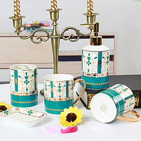 billige Soap Dispensers-Baderomsutstyrssett, 5 deler keramisk komplett badesett for badekarinnredning, inkluderer tannbørsteholder, såpedispenser, såpeskål, 2 munnvaskekopper hjemme og hotell
