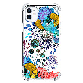 cheap Cases & Covers-Floral Graphic Design Case For Apple iPhone 12 iPhone 11 iPhone 12 Pro Max Unique Design Protective Case Ins Style Shockproof Clear Back Cover TPU